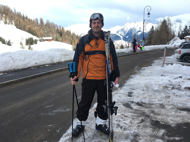Chris Heyes on his first day skiing in La Plagne - Feb 2016