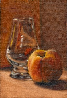 Oil painting of a yellow peach and a Glencairn whisky glass on  a wooden cutting board.