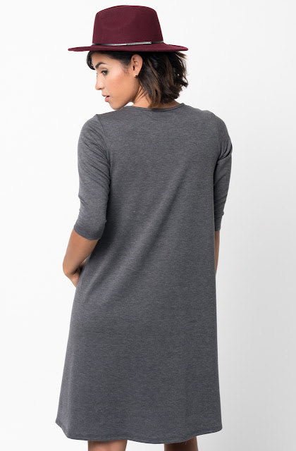 Charcoal Pocket Terry A Line Dress Swing Long Sleeve Crew Neck