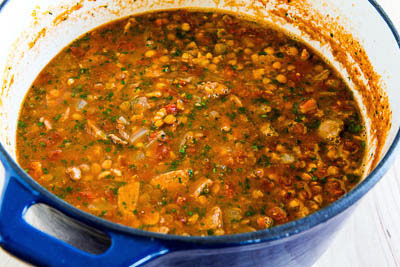 Roasted Italian Sausage Soup with Garbanzos, Lentils, and Tomatoes found on KalynsKitchen.com.