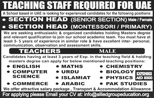 Teaching Staff 3 to 5 Years Experience Required in UAE Based School