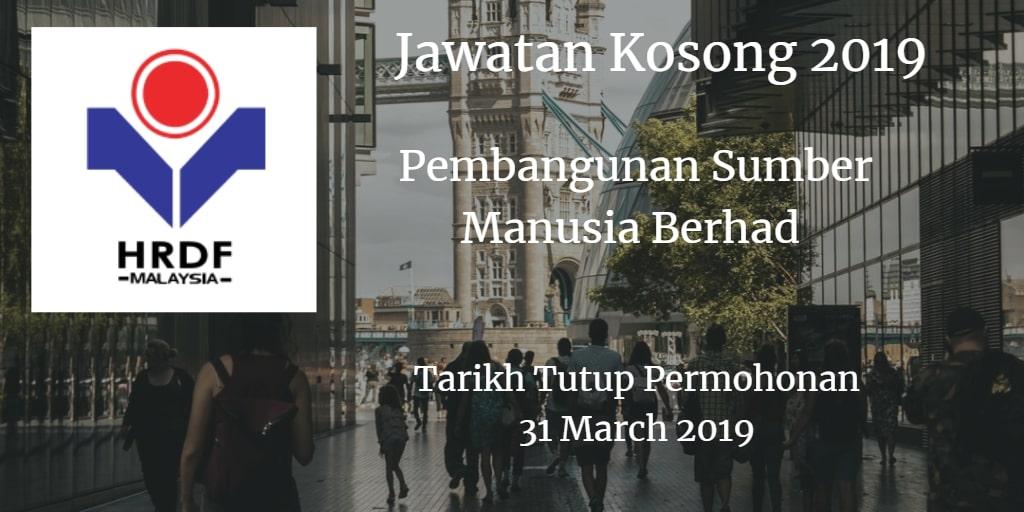 Jawatan Kosong HRDF 31 March 2018