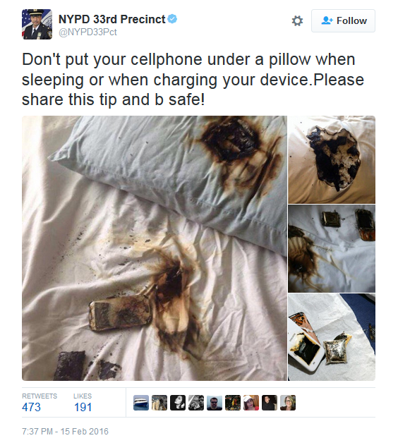 Firefighters Post Message To Never Charge Your Phone Under Your Pillow