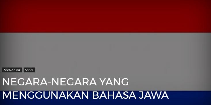 3 Negara Yang Menggunakan Bahasa Jawa