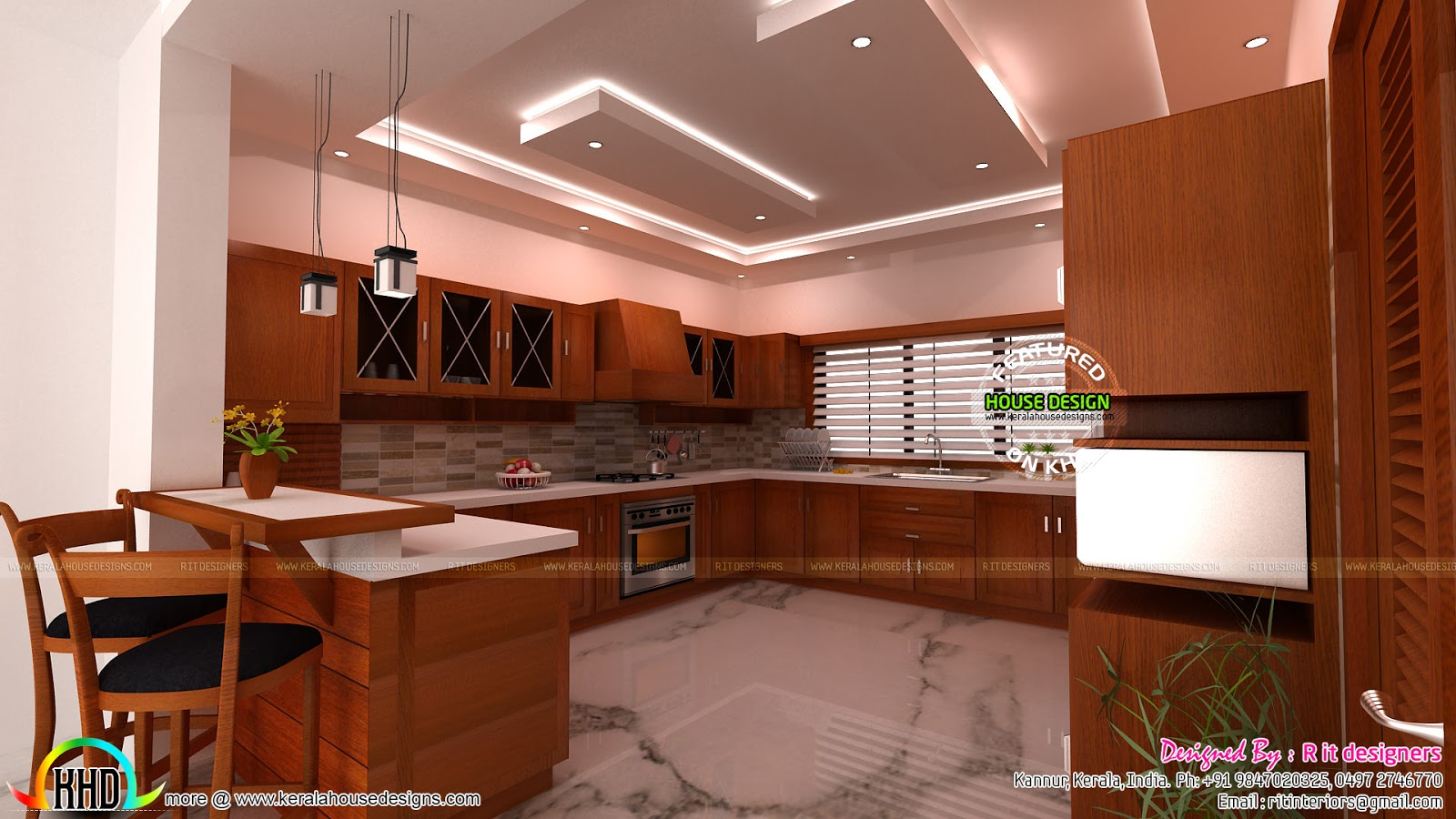 Modular Kitchen Living And Dining Interiors Kerala Home Design