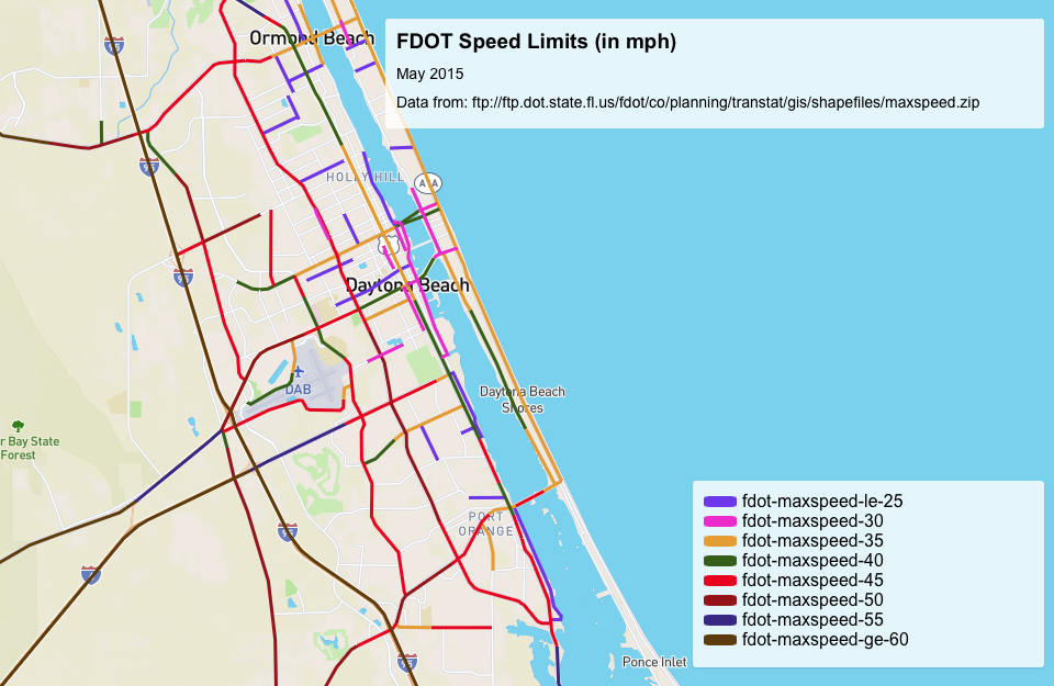 Speed Limit Map Florida Bicycle Daytona!: Statewide Interactive Map of FDOT Speed Limits