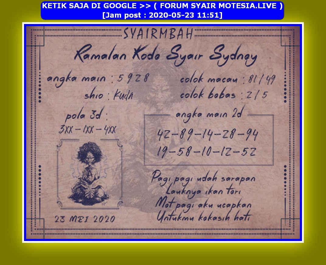 Kode syair Sydney Sabtu 23 Mei 2020 18