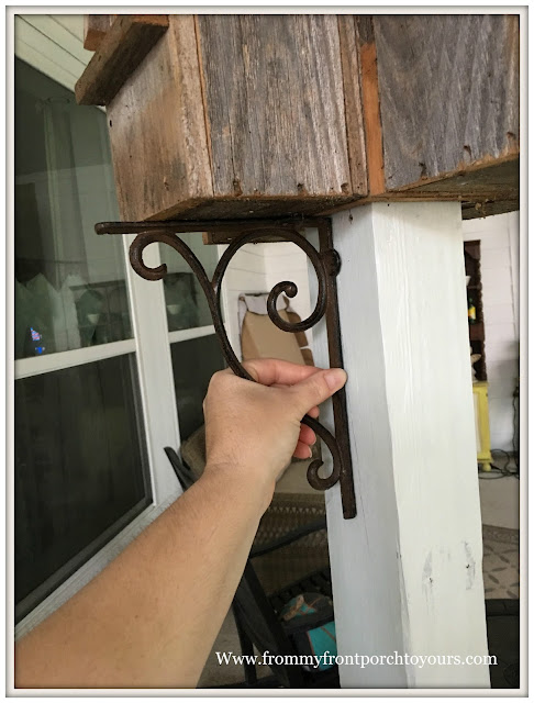 Recycled Wood Birdhouse-DIY Stand-Iron Shelf Brackets-From My Front Porch To Yours