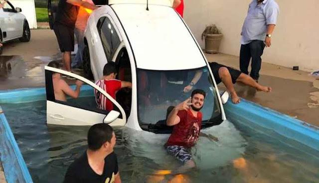 Churrasco termina, carro dentro da piscina, amigos, carro cai na piscina, festa com os amigos, prejuízo, churrasco termina em prejuízo, flogão elite, flogao,