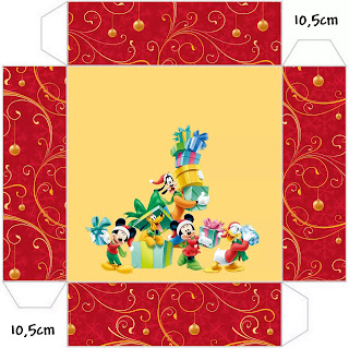Navidad de Mickey y sus Amigos: Cajas para Imprimir Gratis.