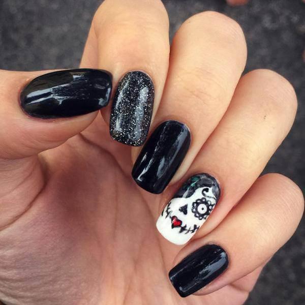 Black Sugar Skull Nails