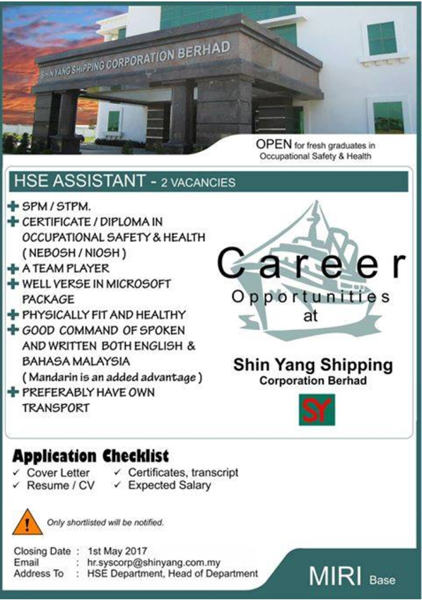 Oil &Gas Vacancies: HSE Assistant-Shin Yang Shipping-Miri