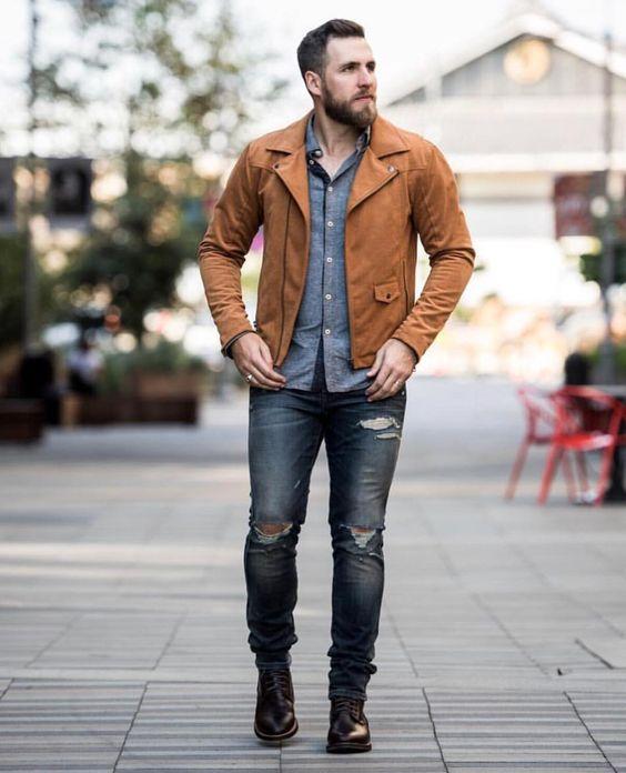 jaqueta marrom masculina