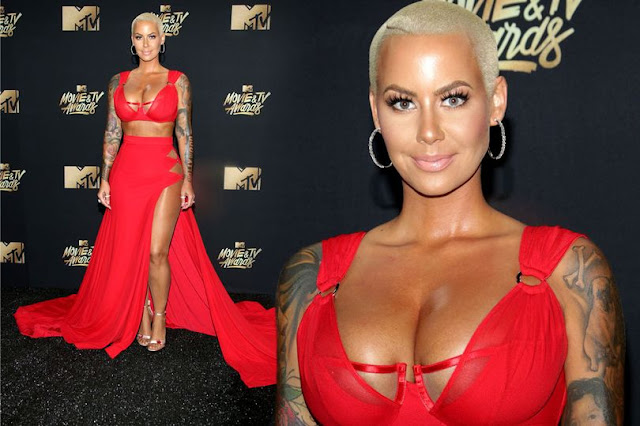 Amber Rose Stuns At MTV Awards In Cleavage-baring Gown; Wins Most Revealing Outfit