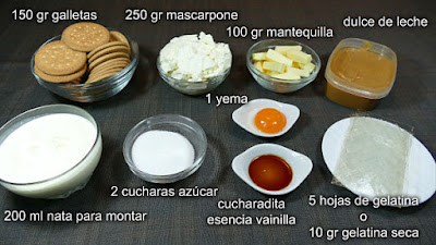 Ingredientes para la tarta de queso mascarpone con dulce de leche