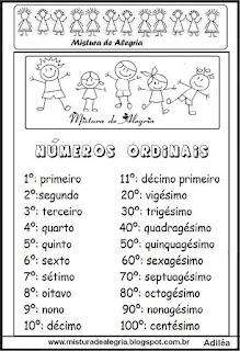 Atividade matemática números ordinais