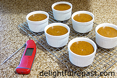 Pumpkin Custards - Individual Crustless Pumpkin Pies (this photo - temperature taken, removed from water bath, cooling at room temperature for 1 hour before chilling) / www.delightfulrepast.com