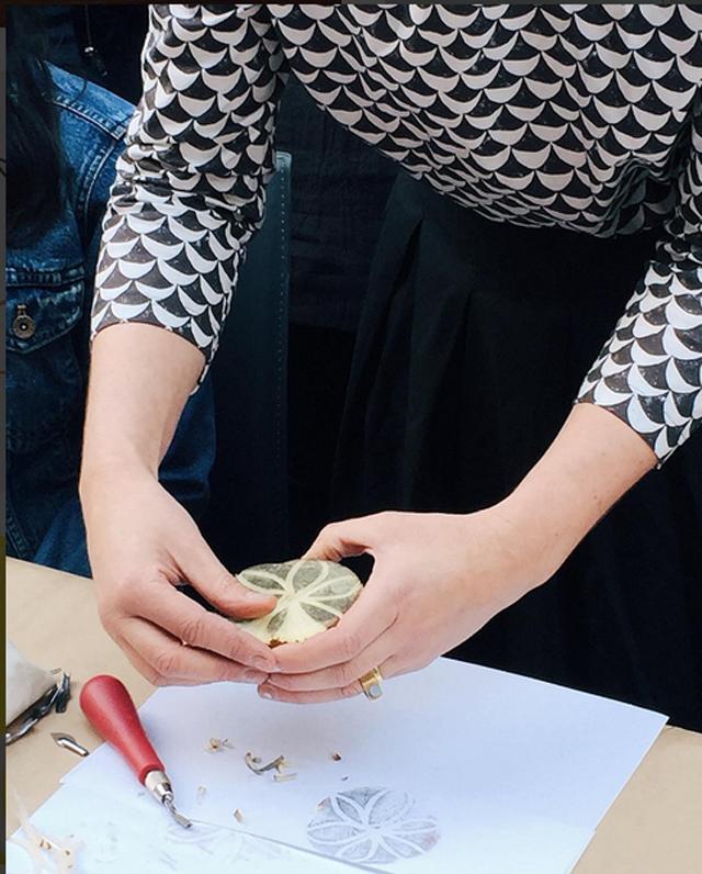 Surface printing workshop with Lotta Jansdotter | Potato Printmaking