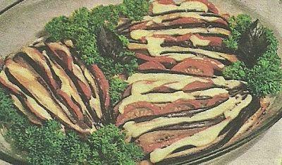 Состав продуктов и способ приготовления салата с баклажанами