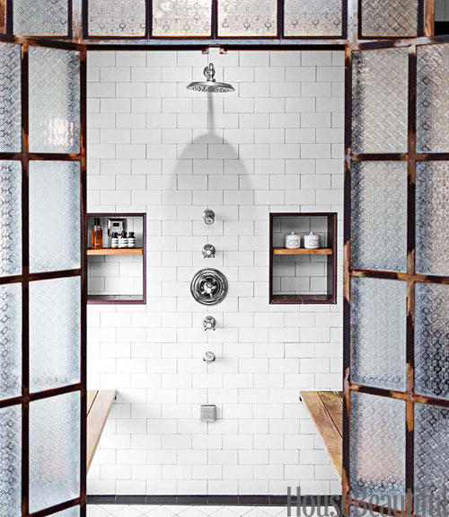 50 Staircases That Expertly Mix Function And Style: Mix And Chic: An Industrial Chic Bathroom In Los Angeles