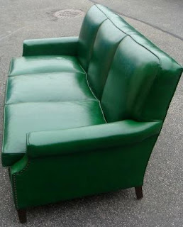 Nicole Wood Interiors SOLD Vintage Green Vinyl Sofa w Nailheads