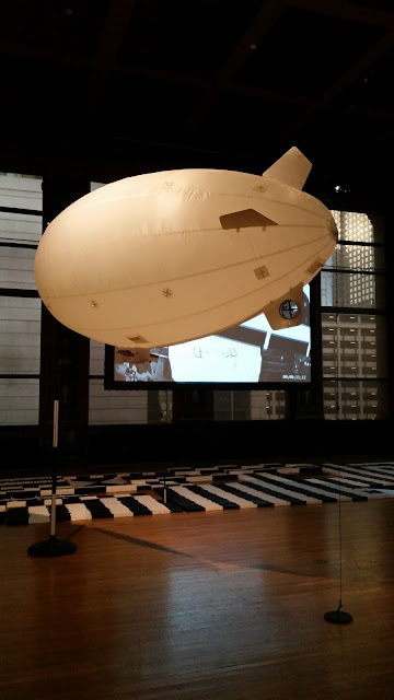 Artist Paul Catanese's blimp at the Cultural Center