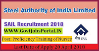 Steel Authority of India Limited Recruitment 2018– 130 Proficiency Training of Nurses