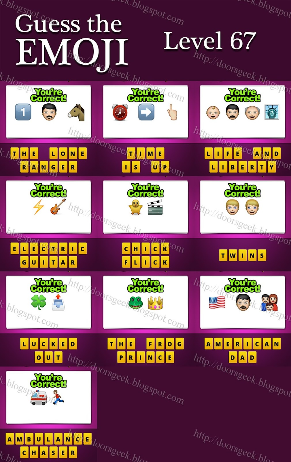 Guess The Emoji [Level 67] Answers and Cheats ~ Doors Geek