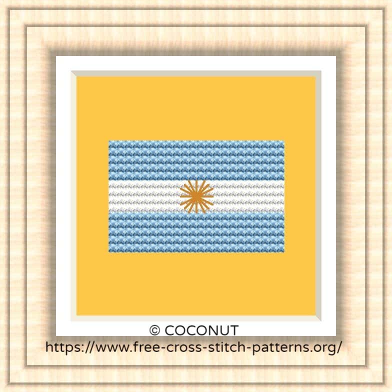 NATIONAL FLAG OF ARGENTINA CROSS STITCH CHART