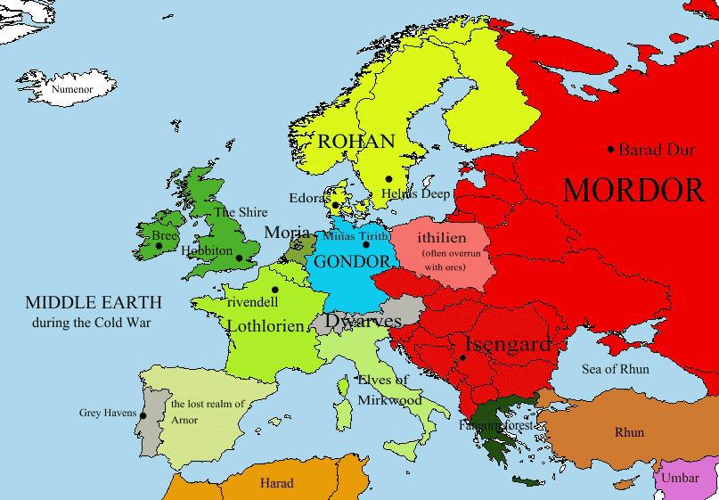 Risultati immagini per mappa europa se fosse la terra di mezzo