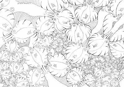 A coloring page of a pattern about fishes and birds / Kuviollinen värityskuva linnuista ja kaloista