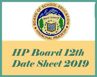 HPBOSE 12th Class Date Sheet 2019, HP Board 12th Date Sheet, Himachal Pradesh 12th Date Sheet 2019