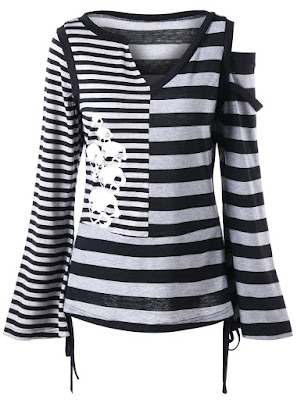 Cut Out Flare Sleeve Striped Top - Black And Grey, blusa preta