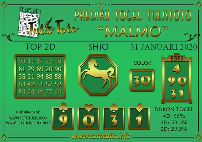 Prediksi Togel MALMO TULISTOTO 31 JANUARI 2020