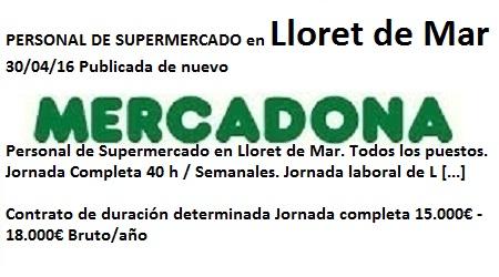 Lanzadera de Empleo Virtual Girona, Oferta Mercadona Lloret de Mar