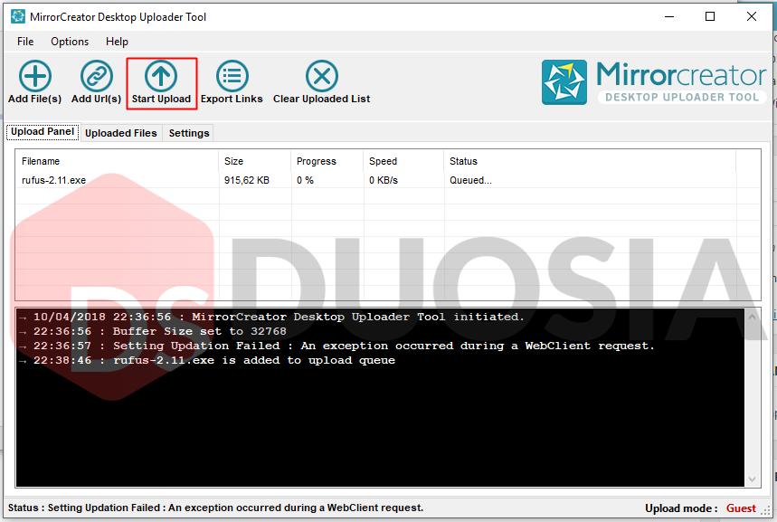 Cara Upload di Aplikasi MirrorCreator