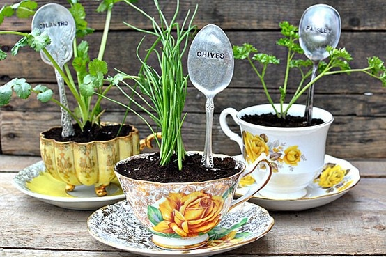 This upcycled teacup project made mini planters out of tea cups and silver spoons - too cute!