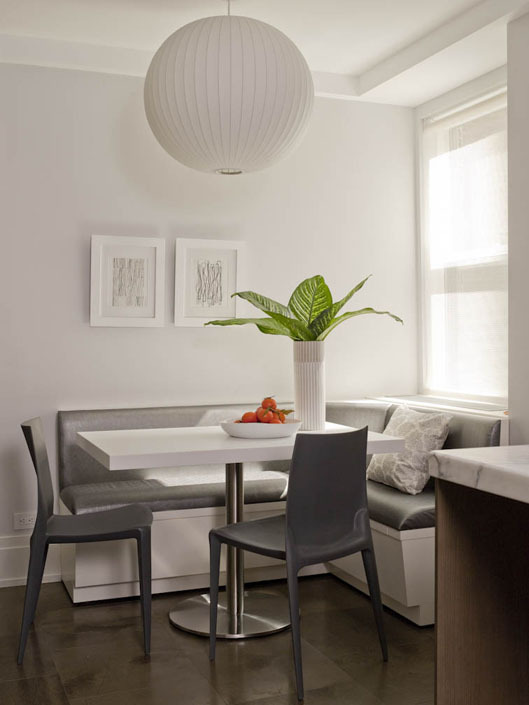 U shaped kitchen design ideas 2012. sleek gray and white banquette ...