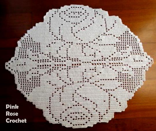 Pink Rose Crochet Tapete Rosas Em Crochet Filet Flower Rug
