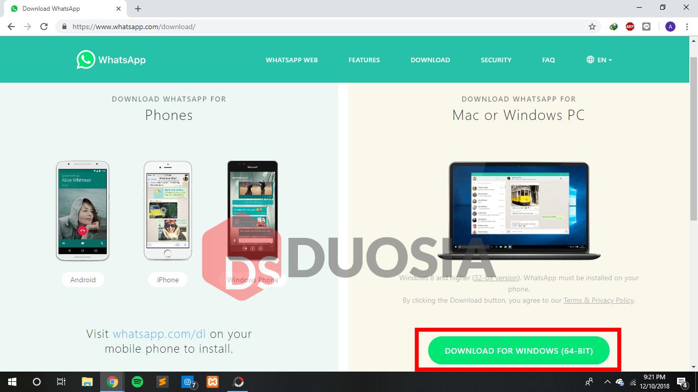 download whatsapp via web
