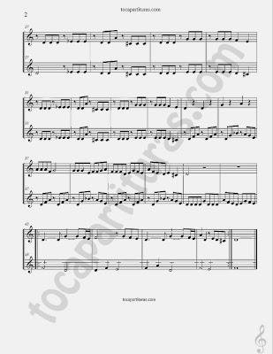 Vois Sur Ton Chemin Partitura para dúo de Flautas. Banda sonora Partitura a duo de Los Chicos del Coro