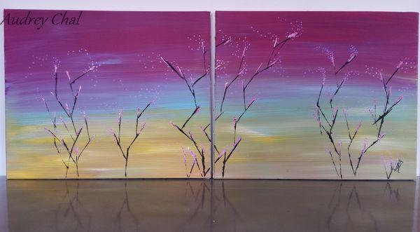 tableau abstrait diptyque grand format arbres en fleurs, peint à l'acrylique