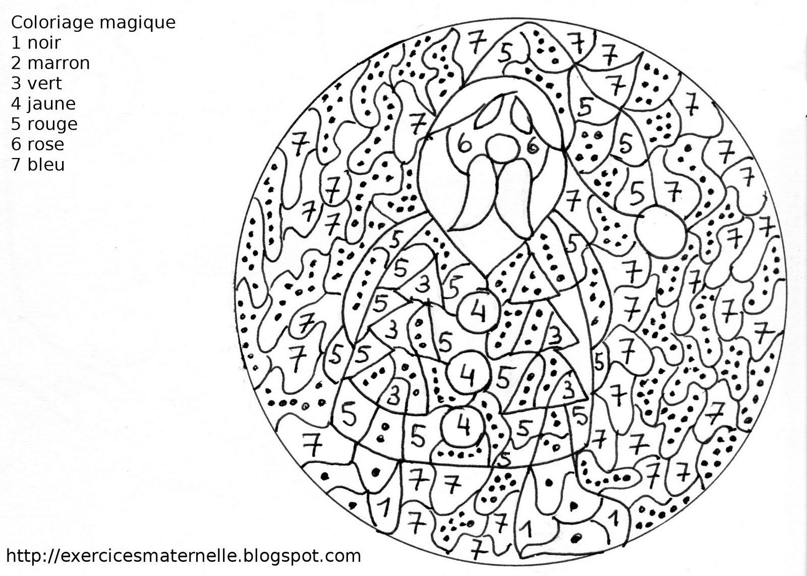 Coloriage Magique De Noel.Maternelle Coloriage Magique Le Pere Noel