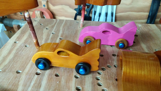 Wooden Toy Cars Bat Cars Pink -Amber Shellac