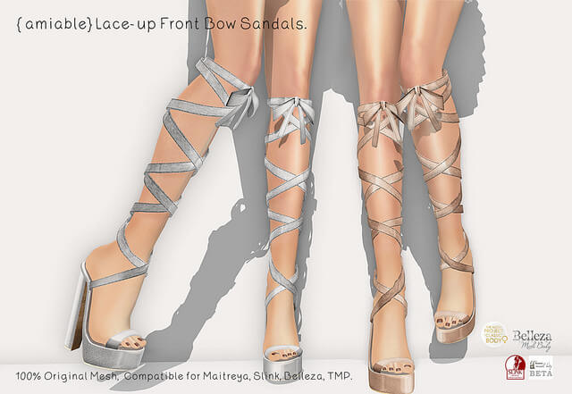{amiable}Lace-up Front Bow Sandals@main store(50%OFF SALE).