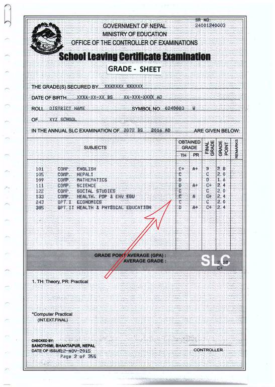 Slc marksheet sample
