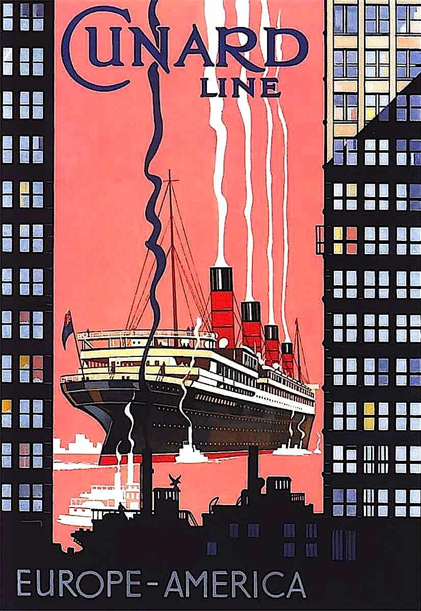 a Cunard Line cruise poster, Europe-America