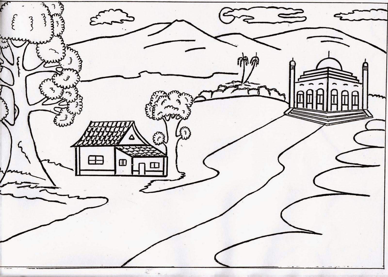 Gudang Gambar Kartun Hitam Putih Pemandangan Phontekno