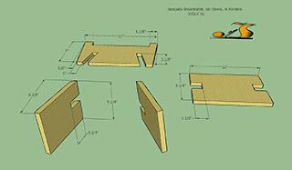 Diseño y piezas de la banca desarmable