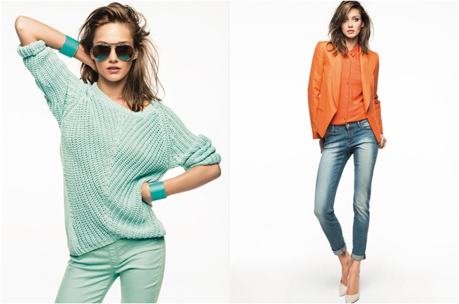 mint green spring looks, orange blazer outfits